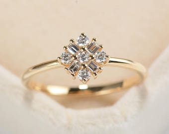 Alternative Cluster Diamond Engagement Ring Unique 14K Rose Gold Baguette Bridal ring Dainty Flower Promise Anniversary Gift for women