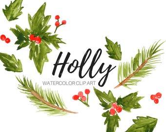 Christmas clip art - Watercolor clip art - Holly clip art - Floral clip art -  commercial use