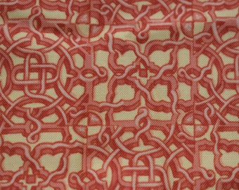 geometric fabric, hampton court, makower uk, orange fabric, celtic knot fabric,  quilting fabric, sewing fabric, cotton