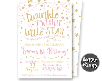 Twinkle Twinkle Little Star Invitation, Birthday Invitation, Party, Pink and Gold Glitter Invitations, Personalized, Printables, Invites