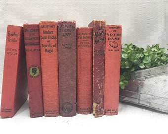 Red Vintage Books, Old Books, Shelf Decor, Books By The Foot