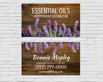 Lavender Business Card, Wood, Download, Printable, Personalized, Small Business, Essential Oils, Rustic, Independent Distributor, Blogger
