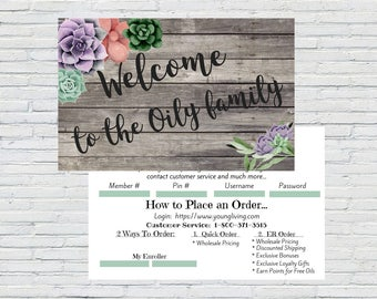 Succulent Love - Welcome to the Family Postcard with Congratulations and how to place an order instructions   Printable  Download