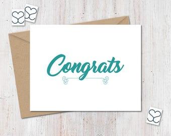 Congratulations Card. Congrats Greeting Card.