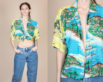 90s Hawaiian Blouse - Large // Vintage Cropped Collared Short Sleeve Shirt