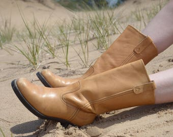 70s 80s Tan Brown Vintage Leather Boots, Western Square Toed Boots