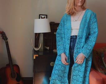 70s Floral Laced Long Robe, Vintage Bohemian Floral Coverup
