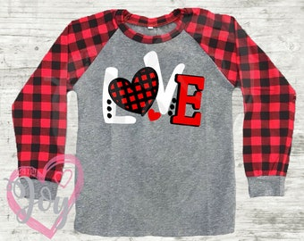 """Valentine Buffalo Plaid Raglan Shirt, """"Love"""" with Red and Black Plaid Heart, Kids, Toddlers, Infants, Long Sleeve, Boy and Girl, Unisex"""