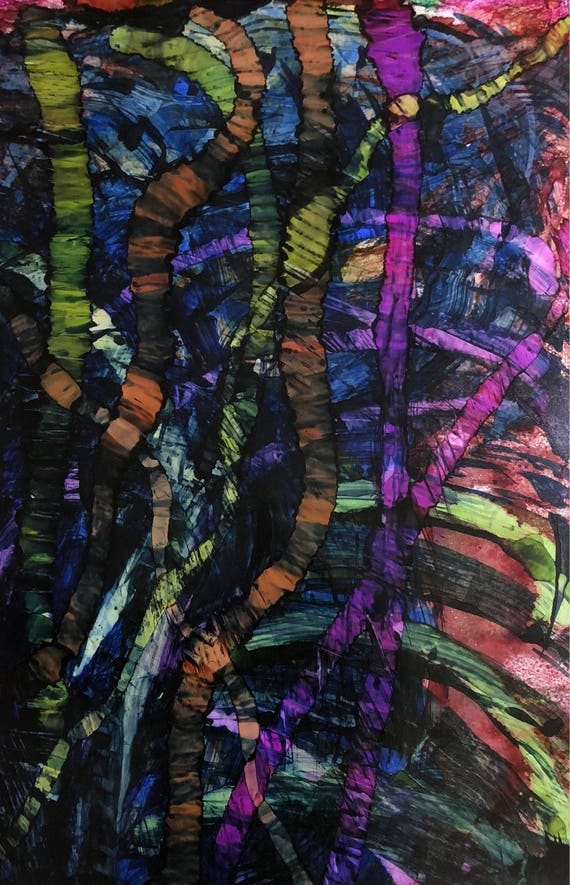 """Large Original Alcohol Ink Abstract: """"Just Keep Moving"""" (23"""" x 35"""")"""