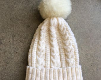 White Winter Hat...Hand Knit Beanie...Cable Knit Winter Hat with Pom Pom
