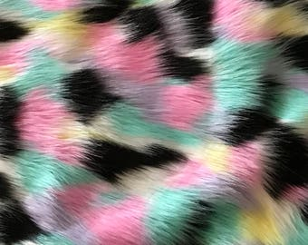 """Pastel Multi-Color Faux Fur Fabric By The Yard 60"""" Wide"""