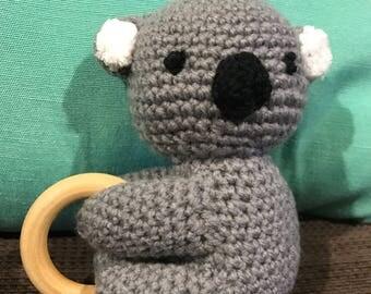 Handmade Crochet Koala Rattle - MADE TO ORDER