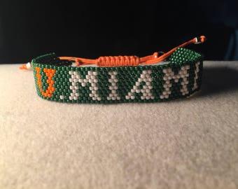 University of Miami beaded bracelet ***UM***