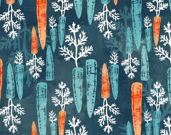 Watercolour Carrot Dark Repeat Fabric by AdenaJ - Cotton/ Polyester/ Jersey/ Canvas/ Digital Printed