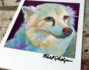 Colorful AMERICAN ESKIMO DOG Art Print by Robert Phelps--Eskie, Eskimo Dog, Samoyed, Dog Art, Dog Decor, Gift for American Eskimo, White Dog