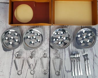 Vintage 12 Piece Excargots Set Service for Four Stainless Steel in Box Retro 70s French Classic Delicacy Cookware Diner Party Dish