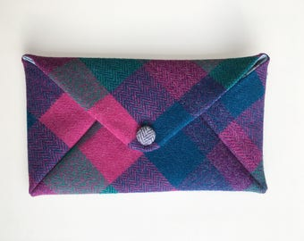 Harris Tweed Clutch Bag purple and pink check. Scottish Bag, Tweed Bag, envelope bag,   Purple bag, pink bag. Occasion bag.