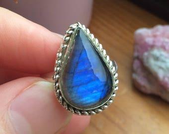 Deep Blue, Tear Shaped Labradorite Crystal Silver Ring