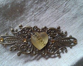 "brooch ""print and yellow Rhinestone Heart"""