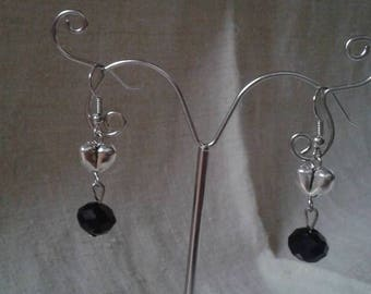 heart and black pearl earrings