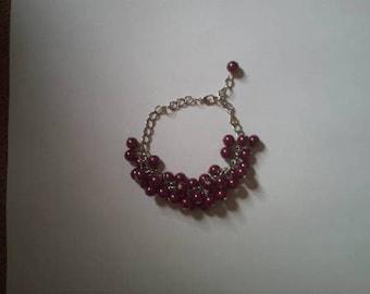 "Bracelet ""cluster of small purple beads"""