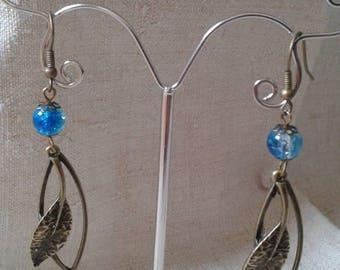 """Earrings """"leaf bronze and Pearl"""""""