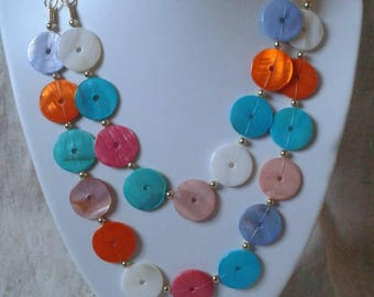 "necklace ""multicolored mother of pearl drops"""