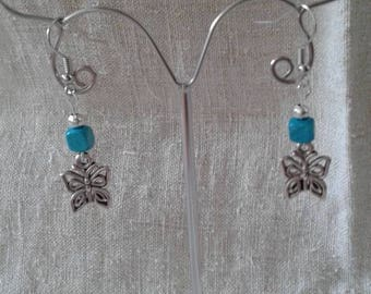 Butterfly and square Pearl Earrings