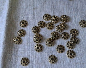 lot 30 flowers gold metal bead caps