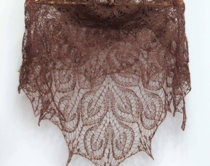 Knitted shawl, brown shawl, knit shawl with beads, knit scarf, knitted scarf, mohair shawl, openwork scarf, hand knit shawl, crochet shawl