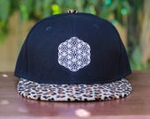 The Circle of Life Sacred Geometry Cheetah Print Brim Snapback Hat