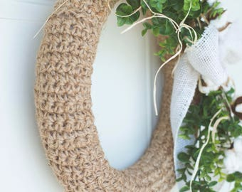PDF Crochet Pattern for the Farmhouse Jute Wreath