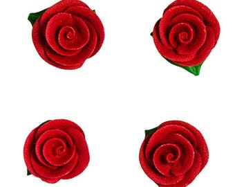 Handmade Red Sugar Rose Flower Decorations with Leaves - Cupcake, Cake and Cookie Sugar Decorations. Edible Cake Toppers. Pack of 4.