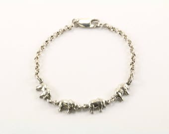 Vintage Elephants Chain Bracelet 925 Sterling BR 1971-E