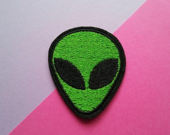 Alien Iron On Patch/Extraterrestrial/UFO/Clothing Patch/Applique/Embroidered Patch/Jacket Patch/Funny Patch/Father's Day