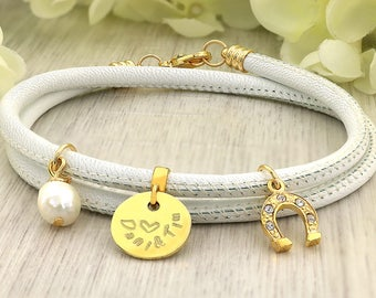 Gold Filled Bracelet - Gold filled Jewelry - Horseshoe Bracelet Silver - Leather Gold bracelet - Dainty Gold Filled Bracelet