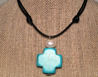 Leather Pearl Cross Adjustable Necklace by JL JewelryNovelties