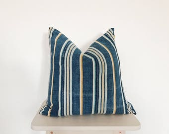 """African Vintage Baule Mudcloth Pillow Cover in Blue and Orange stripes - Orion 18x18"""""""
