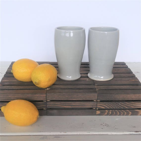 Handmade Ceramic Tumblers Handleless Mug in Gray Ready to Ship
