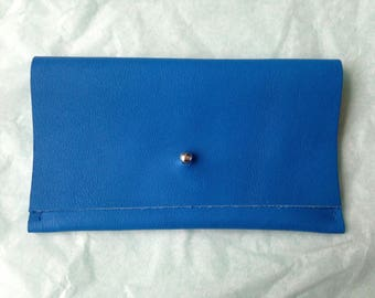 Blue leather, silver clasp clutch