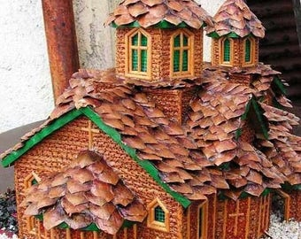 hand made а model of a Bulgarian church made entirely of natural materials,a model of a church,Christian church, home decor,hand-made house,