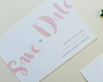 Peach Save the Date - Rustic Save the Date -  Modern Save the Date -  Personalised Wedding Save the Date - Save the Date card