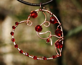 Heart pendant, heart necklace, copper pendant, copper necklace, hammered copper wire, red crystal, wire wrapped, roses, gothic, boho,