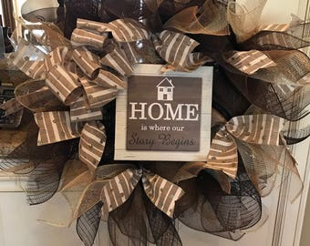 Home Is where our story begins Deco Mesh Wreath