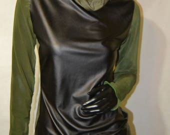 Long sleeve loose turtleneck mesh sleeves and pleather front detail size Small