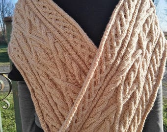 Cable scarf Brown dots acrylic wool hand knitted men or women
