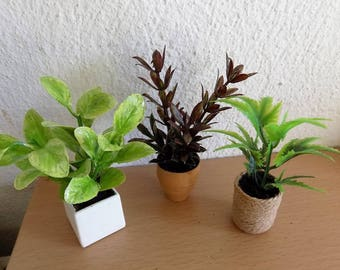Dollhouse Miniature, Dollhouse Plants, Green Plants for Dollhouse, 1:12 scale, Miniature Plants, Dollhouse Accessories, Dollhouse Flowers