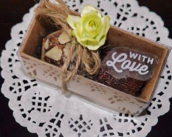 25 Favor boxes with 2 Brigadeiros per box (aka Brazilian Chocolates, Brazilian Truffles).