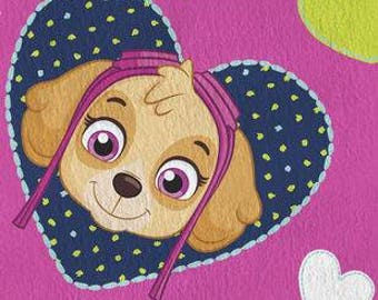 Paw Patrol Skye Happy Hearts Printed Fleece Tied Blanket