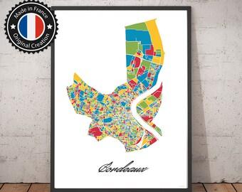 Poster Bordeaux France Multicolor Map - City Map, Street Map